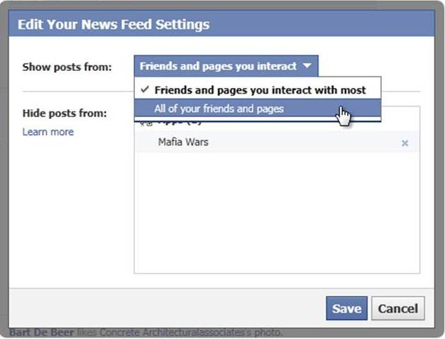 Facebook feedsetting