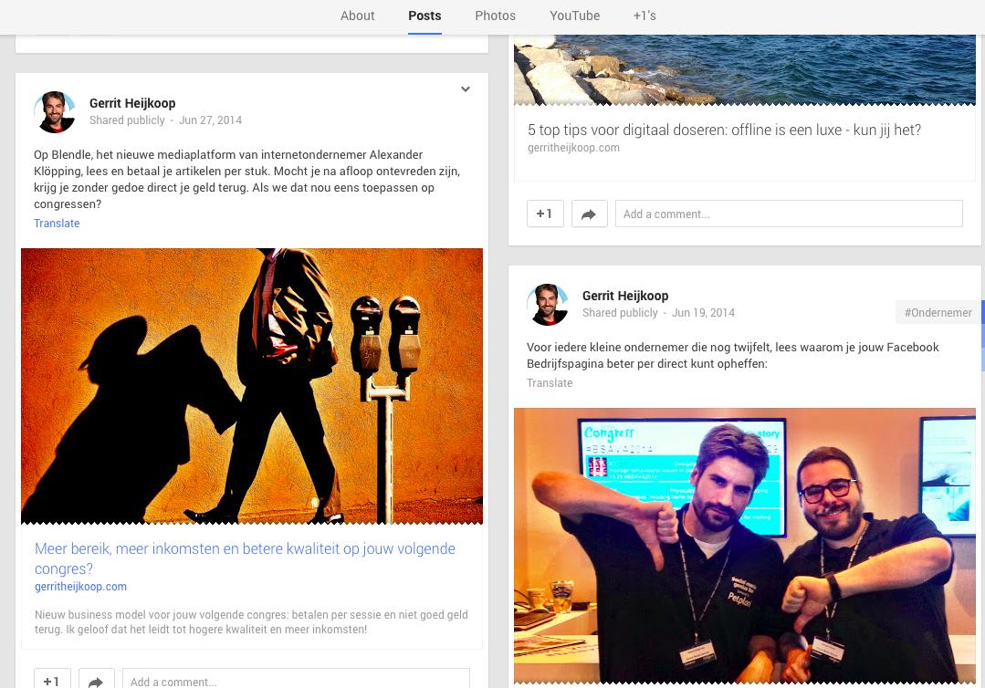 Google+ Gerrit Heijkoop congres